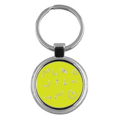 Arrow Line Sign Circle Flat Curve Key Chains (round)
