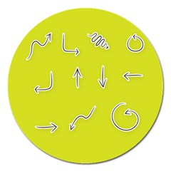 Arrow Line Sign Circle Flat Curve Magnet 5  (round)