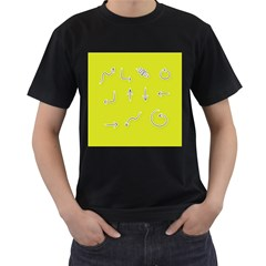 Arrow Line Sign Circle Flat Curve Men s T-Shirt (Black)