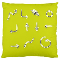 Arrow Line Sign Circle Flat Curve Large Cushion Case (one Side)