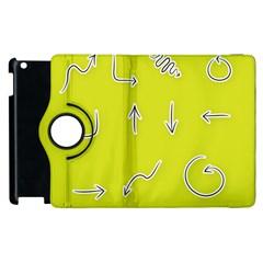 Arrow Line Sign Circle Flat Curve Apple Ipad 2 Flip 360 Case
