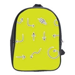 Arrow Line Sign Circle Flat Curve School Bags (xl)