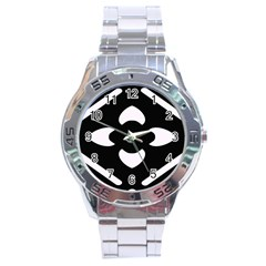 Pattern Background Stainless Steel Analogue Watch