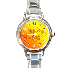 Flowers Floral Design Flora Yellow Round Italian Charm Watch