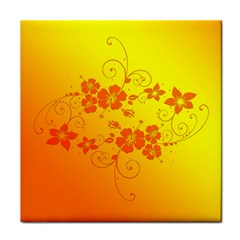 Flowers Floral Design Flora Yellow Tile Coasters