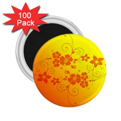 Flowers Floral Design Flora Yellow 2 25  Magnets (100 Pack)