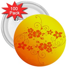 Flowers Floral Design Flora Yellow 3  Buttons (100 Pack)