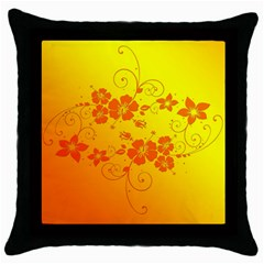 Flowers Floral Design Flora Yellow Throw Pillow Case (black)
