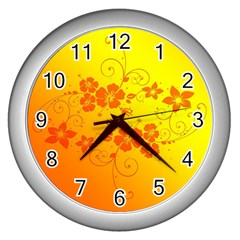 Flowers Floral Design Flora Yellow Wall Clocks (silver)