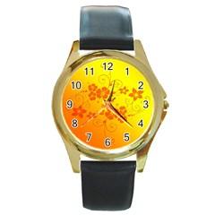 Flowers Floral Design Flora Yellow Round Gold Metal Watch