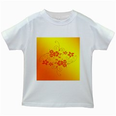 Flowers Floral Design Flora Yellow Kids White T Shirts