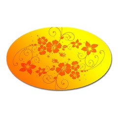 Flowers Floral Design Flora Yellow Oval Magnet