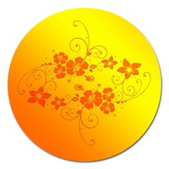 Flowers Floral Design Flora Yellow Magnet 5  (round)