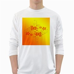 Flowers Floral Design Flora Yellow White Long Sleeve T-Shirts