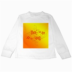 Flowers Floral Design Flora Yellow Kids Long Sleeve T Shirts