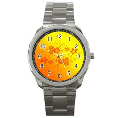 Flowers Floral Design Flora Yellow Sport Metal Watch