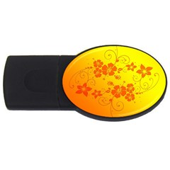 Flowers Floral Design Flora Yellow Usb Flash Drive Oval (4 Gb)