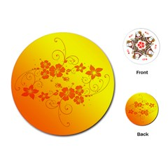 Flowers Floral Design Flora Yellow Playing Cards (Round)