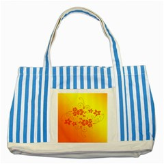 Flowers Floral Design Flora Yellow Striped Blue Tote Bag