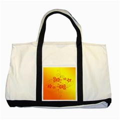 Flowers Floral Design Flora Yellow Two Tone Tote Bag