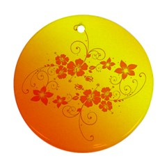 Flowers Floral Design Flora Yellow Round Ornament (two Sides)