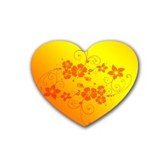 Flowers Floral Design Flora Yellow Heart Coaster (4 Pack)