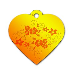 Flowers Floral Design Flora Yellow Dog Tag Heart (one Side)