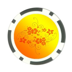 Flowers Floral Design Flora Yellow Poker Chip Card Guard