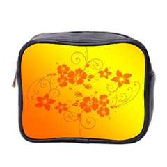 Flowers Floral Design Flora Yellow Mini Toiletries Bag 2 Side
