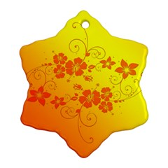 Flowers Floral Design Flora Yellow Snowflake Ornament (two Sides)