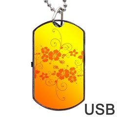 Flowers Floral Design Flora Yellow Dog Tag Usb Flash (two Sides)
