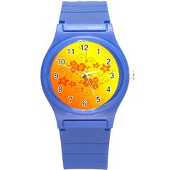 Flowers Floral Design Flora Yellow Round Plastic Sport Watch (S)