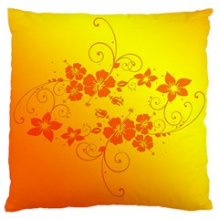 Flowers Floral Design Flora Yellow Large Cushion Case (two Sides)