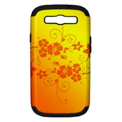 Flowers Floral Design Flora Yellow Samsung Galaxy S Iii Hardshell Case (pc+silicone)