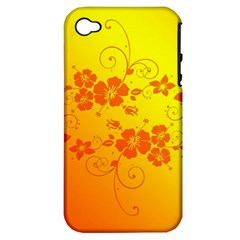 Flowers Floral Design Flora Yellow Apple Iphone 4/4s Hardshell Case (pc+silicone)