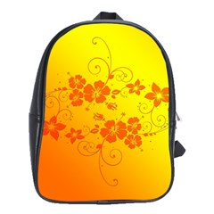 Flowers Floral Design Flora Yellow School Bags (xl)