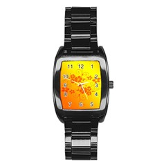 Flowers Floral Design Flora Yellow Stainless Steel Barrel Watch