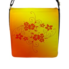 Flowers Floral Design Flora Yellow Flap Messenger Bag (l)