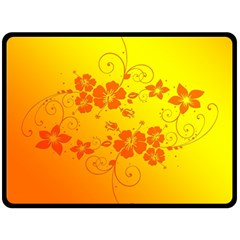 Flowers Floral Design Flora Yellow Double Sided Fleece Blanket (large)