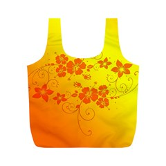 Flowers Floral Design Flora Yellow Full Print Recycle Bags (m)