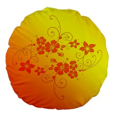 Flowers Floral Design Flora Yellow Large 18  Premium Flano Round Cushions