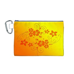 Flowers Floral Design Flora Yellow Canvas Cosmetic Bag (m)