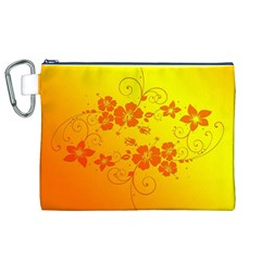 Flowers Floral Design Flora Yellow Canvas Cosmetic Bag (XL)