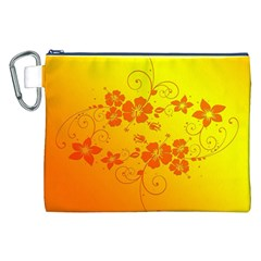 Flowers Floral Design Flora Yellow Canvas Cosmetic Bag (xxl)