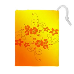 Flowers Floral Design Flora Yellow Drawstring Pouches (extra Large)