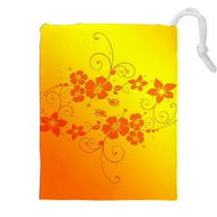 Flowers Floral Design Flora Yellow Drawstring Pouches (XXL)
