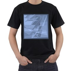 Lines Shapes Pattern Web Creative Men s T Shirt (black) (two Sided)