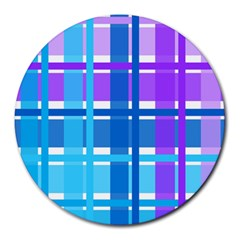 Gingham Pattern Blue Purple Shades Round Mousepads