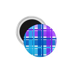 Gingham Pattern Blue Purple Shades 1 75  Magnets