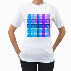 Gingham Pattern Blue Purple Shades Women s T Shirt (white) (two Sided)